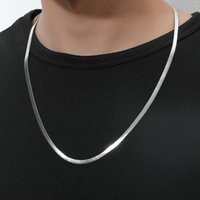 Chains Stainless Steel Thick Flat Snake Chain-Silver Exquisite Men's Chain Necklace Wave Bo Jewelry 58.5cm