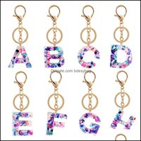 Keychains Fashion Aessoriesfashion Creative 26 Initials Letter Pendant Temperament Chain Acrylic A To Z Keyrings Car Key Ring Simple Cute Pa