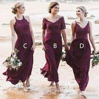 Boho Burgundy Bridesmaid Dresses 2022 Lace Chiffon Ankle Length Custom Made Plus Size Maid of Honor Gown Halter Short Sleeves vestidos Beach Wedding