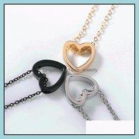 Ожерелья подвески Jewelrykorean Hollow Love Peach Пара из нержавеющей стали Ожерелье День Святого Валентина Ювелирные Изделия Подарки Цепи Drop Доставка 2021