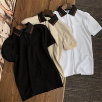 21ss Polo camiseta camiseta para hombre bordado bordado letras impresas de manga corta clásica camisa de negocios con capucha para hombre camisa 100% algodón M-2XL
