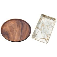 Baking & Pastry Tools Round Solid Wood Board Whole Acacia Fruit Plate Wooden Gold Marbled Ceramic Dessert Steak Salad Snack Cake Tray