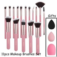 11 Pcs set Makeup Brushes Sets Eyeshadow Blending Eyeliner Eyelash Eyebrow Make Up Beauty Brush Kit With Powder Puff and Brushegg