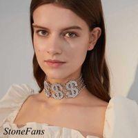 Designer Necklace Luxury Jewelry Stonefans Large Rhinestone Dollar Choker Chain for Women Fashion Crystal Money Statement Gift