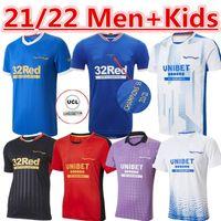 21/22 Rangers Futbol Formaları Glasgow 2021 2022 Tee Şampiyonlar 150th Yıldönümü 55 Defoe Barker Morelos Erkekler Çocuk Kadın Eğitim Futbol Gömlek Tay