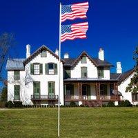 America US America 20FT America Bandiera solenne Decorazione all'aperto Decorazione Sezione Halyard Pole Alluminio USA Flagpole Kit Carabinetri Gold Ball Finial