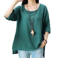 Johnature Kadınlar Gevşek Pamuk Keten T-shirt O-Boyun Bahar Yeni Vintage Uzun Kollu 5 Renkler Rahat Kadın Gömlek 210401 Tops