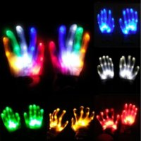 LED Colorido arco iris Guantes brillantes Guantes de Navidad Regalo de Navidad Novedad Hombre Huesos Etapa Magic Magic Finger Dedo FLuorescente Danza Flashing Glove Gyq