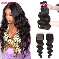 Human Hair Bulks Qlove 3 4 Body Wave Bundles With Closure Burmese 100% Weave Lace Remy Extensions