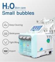 H2O2 6 in 1 small bubble aqua peeling microdermabrasion blackhead removal vacuum BIO lifting RF scrubber hydra facial machine for face