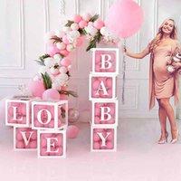 Parti Dekorasyon Bebek Duş Adı Balon Kutusu Balonlar Kemer Backdrop Mektubu Şeffaf Babyshower One Erkek Kız Dekor Için