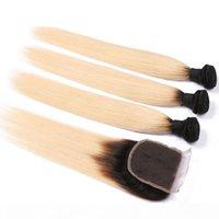 1B 613 العسل شقراء البرازيلي مستقيم ريمي الشعر البشري 3 حزم مع إغلاق الدانتيل