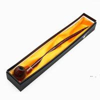 Tubos de fumar longos tubos finos de madeira grão marrom resina comprimento 415mm acessórios de fumaça owc7313