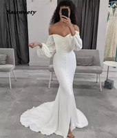 Wedding Dress V-Neck Long Sleeves Mermaid Sweep Train Spandex Satin Pleated Zipper Back Lace Bridal Dresses