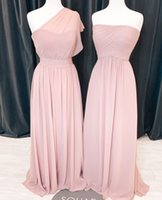 Fashion 2022 Blush pink Bridesmaid Dresses One shoulder Chiffon Empire Straplss Ruched Long Country Prom Evening Party Dress