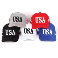 Cycling Caps & Masks Unisex Outdoor Baseball Cap Trump 2021 Campaign USA 45 American Flag 3D Embroidered Adjustable Snapback Hat