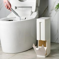 In 1 Trash Can Toilet Brush Set Bathroom Plastic Waste Bin Dustbin Kitchen Garbage Bucket Household Cleaning Tools Bath Accessory