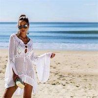 Vestido de férias vestidoes mulheres cobertura de praia vestido vestido de malha oco designer
