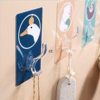 Hooks & Rails Hats Bag Key Towel Adhesive Hook Holder Mounted Strong Sticker Rack Coat Housekeeping Wall Door Hanger Bathroom DHF10400