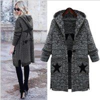 Women's Trench Coats 2021 Autumn And Winter Style Hooded Collar Slim Embroidered Pattern Long Knit Cardigan Jacquard