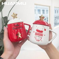 Christmas Ceramic Mugs Porcelain Cup Cute Water Cups With Spoon Lid Drinkware Coffee Milk Teacup Child Gift