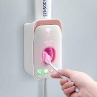 Bad Zubehör Set Badezimmer Zubehör Automatische Zahnpasta Spender Zahnbürste Halter Wandhalterung Lager Rack Squeezer