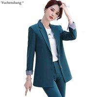 Abiti da donna Blazers Khaki Green Black Donne Blazer OL Blazer Pant Suit Suit Business Formale Oversize Oversize 2 Pezzo Set per Ufficio Ladies Intervista
