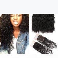 AUTUU KINKY Курсы волосы с кружевной закрытием Virgin Mink бразильские перуанские индийские малазийские пакеты человеческих волос с закрытием оптом