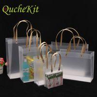 10 шт. Высококачественный пластиковый пакет матовый PP с ручкой бумаги полупрозрачный пластиковый упаковочный пакет для подарочного цветка