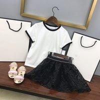 Miúdos Roupa Camisetas + Saia Summer Lazer Sets Childrens 21Aw terno marca meninas casaco de algodão tamanho 110-150