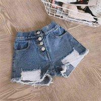 Humor Bear New Summer Ropa Baby Denim Boys Girls Agujeros Pantalones cortos para niños Ropa Pantalones 210317