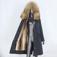 Faída de las mujeres Faux CXFS 2021 X-Largo Parka A prueba de agua Chaqueta de invierno Mujeres Natural Mapache Hood Abrigo Real Abrigo Cálido Streetwear Streetwear
