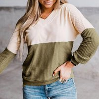 Women's Sweaters Contrast Color Pullovers Sweater Women Fashion V-Neck Long Sleeve Casual Pullover Oversized Vintage Jumper Sueter Mujer