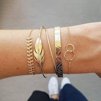 Charm Bracelets Fashion Personality Bracelet Lady Leaf Double Ring Texture Open Chain Combination Of 5 Sets Women And Girls