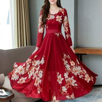 Frauen Oansatz Langarm Kleid Damen Vintage Blumendruck A-line Mode Frühling Elegante Plus Sizedress Casual Dresses
