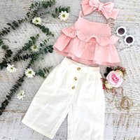Clothing Sets UK Toddler Kid Baby Girl Ruffle Sling Tops Long Pants 3PCS Outfit Clothes Summer