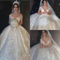 Glänzende Pailletten Ballkleid Brautkleider Prinzessin 2021 Dubai Arabisch Schulterfrei Sexy Brautkleider Sweep Zug Vestidos de Novia Second Recide Dress Al5963