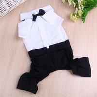 Dog Apparel Pet Clothes Four-legged Suit Pants Black Bow Tie Gentleman Costume Cotton Car Festival Wedding Dress Outfit
