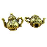 30 sztuk / partia 15x12mm Antique Bronze Color Stop Cynkowy 3D Czajnik Charms Wisiorek DIY Ustalenia Biżuterii Akcesoria