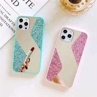 S forma di Shape Mirror Glitter Cases Telefono TPU + PC + Glass 3 in 1 Custodia per cellulari Custodia per iPhone 13 12 Mini 11 Pro Max XS XR 7 8 Plus Samsung S20 S20FE S21 S21Ultra