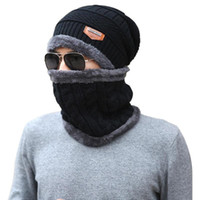 Hats, Scarves & Gloves Sets Winter Hat + Bib Knit Plus Velvet Warm Hooded Caps For Men And Women Scarf Wool Cap Collar Set Hats Female Fashi