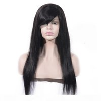 Lace Front Wig 130% Density Natural Color Silky Straight Brazilian Virgin Human Hair Full Lace Wig with Bang