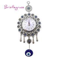 BRISTLEGRASS Turkish Blue Evil Eye Quartz Wall Clock Flower Hanging Pendants Amulets Lucky Charms Blessing Protection Home Decor 210401