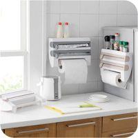 Multifunctional Kitchen Storage Organizer Cling Film Cutter Tin Foils Roll Dispenser Paper Towel Holder Spice Bottle Shelf Rack
