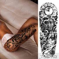 Grandi tatuaggi sexy temporanei tatuaggi donna coscia e manica modello impermeabile tatoo scuro adesivo adesivo cool art