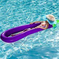 270 cm Super oversize Piscina Pad Galleggiante ad alta densità innocuo Gommone di melanzana Galleggianti per acqua Drifting PVC Summer Beach Swim Anello 58yn x
