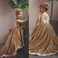 Girl's Dresses Gold High Low Flower Girl Jewel Neck Appliqued Sequins Long Sleeves Pageant Gowns Ruffle Sweep Train Custom Made Bi