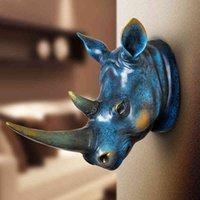 홈 동상 장식 액세서리 추상 코뿔소 머리 조각 웨딩 chrismas 벽 장식 수제 수지 아트 공예품 artware 210414