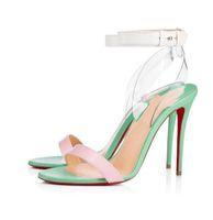 Sandálias femininas de verão PVC e couros cinta de tornozelo sapatos vermelhos inferior saltos altos jonatina Patente de couro Sandália Positano Transp Redsoles Bomba com pó