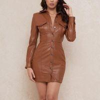 Mulheres elegante moda marrom couro bodycon button frontal bandagem sem encosto do joelho comprimento noite festa de noite mini vestido clubwear vestidos casuais